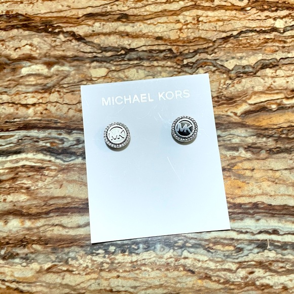 "Michael Kors ""MK"" Post Earring Studs | Silver"